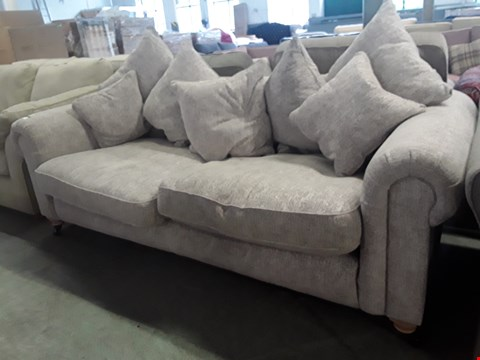 Lot 93 QUALITY BRITISH DESIGNER ODESSER NATURAL FABRIC THREE SEATER SCROLL ARM SOFA WITH SCATTER CUSHIONS
