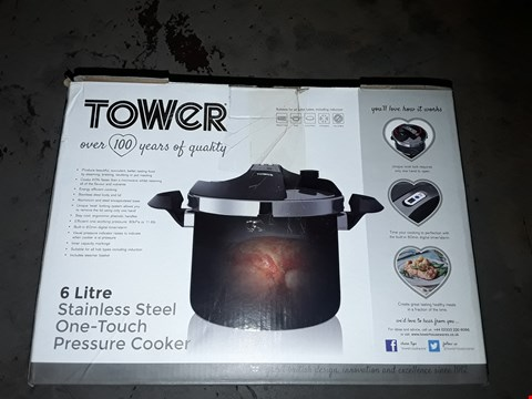 Lot 622 TOWER PRO ONE TOUCH PRESSURE COOKER, STAINLESS STEEL, BLACK, 6 LITRE