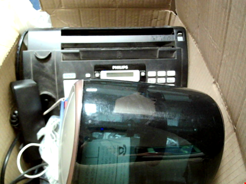 Lot 15651 BOX OF ASSORTED ELECTRONIC ITEMS TO INCLUDE FAX MACHINE, LABEL WRITER, CABLES ETC