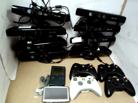 Lot 7728 BOX OF ASSORTED GAMING ACCESSORIES TO INCLUDE XBOX 360 KINECTS AND XBOX CONTROLLERS