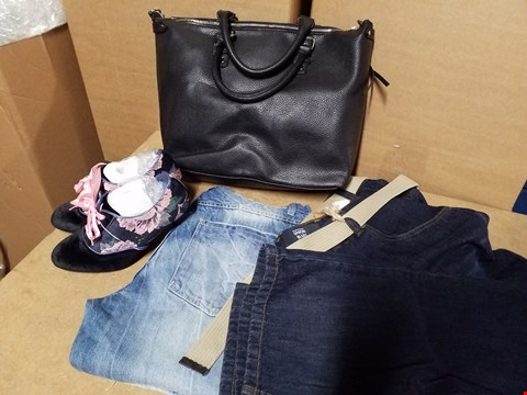 Lot 9339 LOT OF APPROXIMATELY 62 ASSORTED CLOTHING AND SHOE ITEMS TO INCLUDE TOTE BAG, FLORAL DESIGN HEELED SHOE AND VARIOUS PAIRS OF JEANS (4 BOXES)