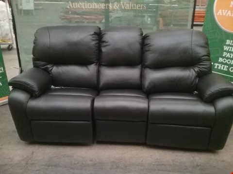 Lot 27 QUALITY BRITISH MADE HARDWOOD FRAMED BLACK LEATHER 3 SEATER RECLINING SOFA