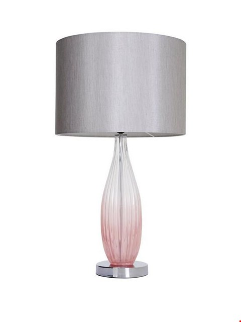 Lot 66 BOXED ALICIA OMBRE PINK GLASS TABLE LAMP RRP £74.99