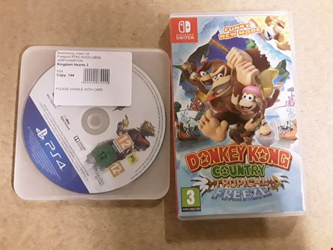 Lot 6151 LOT OF 2 ITEMS TO INCLUDE DONKEY KONG COUNTRY TROPICAL FREEZE FOR NINTENDO SWITCH AND KINGSOM HEARTS 3 FOR PS4