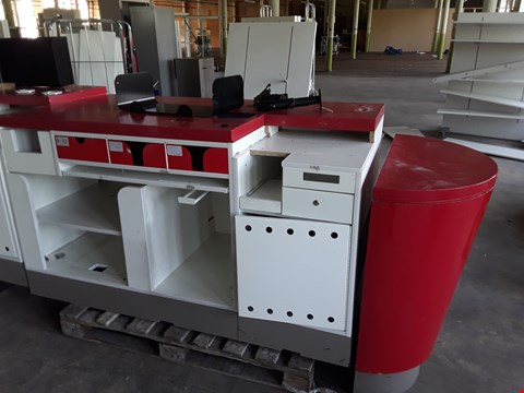 Lot 2006 TILL STATION WITH CASH DRAWER , STORAGE SHELVES/DRAWERS , END TABLE AND TILL BRACKET
