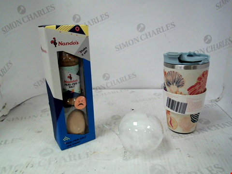 "Lot 10099 LOT OF APPROXIMATELY 3 ASSORTED HOUSEHOLD ITEMS TO INCLUDE NANDOS EGG SHAKER & SALT, CATH KIDSTON SEASHELL WATER BOTTLE AND PERSONALISED ""ALFIE"" FEATHER BAUBLE RRP £35.00"