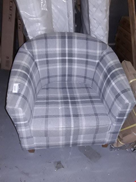 Lot 12157 GREY CHEQUERED FABRIC TUB CHAIR