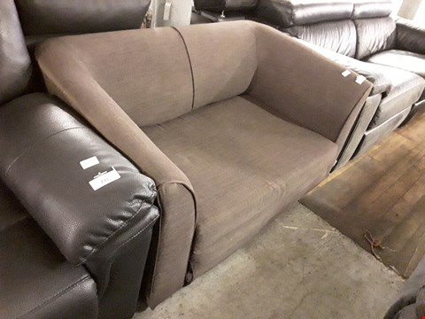 Lot 168 DESIGNER BROWN FABRIC COMPACT 2 SEATER FOLD OUT SOFA BED