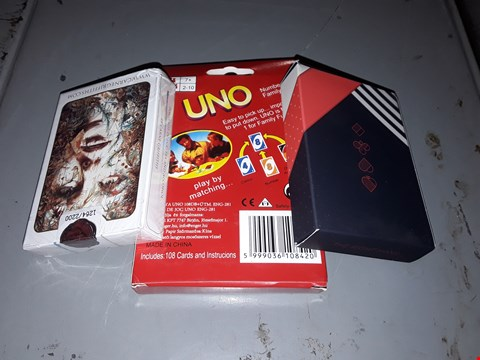 Lot 11 APPROXIMATELY 3 )  PACKS OF PLAYING CARDS TO INCLUDE  UNO