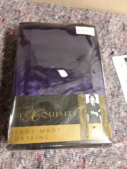 Lot 53 BRAND NEW LAURENCE LLEWELLYN-BOWEN PURPLE CURTAINS APPROXIMATELY 221×137CM