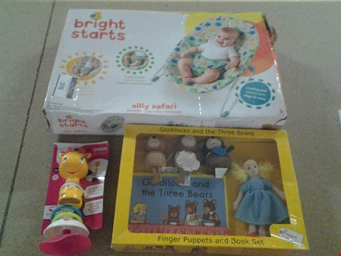 Lot 376 3 ASSORTED PRODUCTS TO INCLUDE; BRIGHT STARS SILLY SAFARI BOUNCER, GOLDILOCKS AND THE THREE BEARS FINGER PUPPETS AND BOOK SET AND GWEN THE GIRAFFE