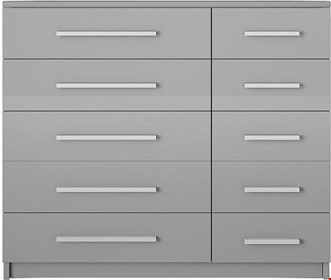 Lot 3503 BOXED NEW PRAGUE GLOSS GREY 5+5 DRAWER CHEST  (2 BOXES)  RRP £299.99