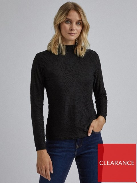 Lot 7363 BRAND NEW DOROTHY PERKINS LONG SLEEVE TEXTURED HIGH NECK BLACK TOP - SIZE 12 UK
