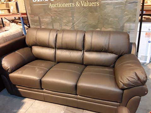 Lot 17 DRSIGNER BROWN FAUX LEATHER FIXED THREE SEATER SOFA