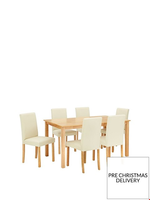 Lot 2070 BOXED GRADE 1 NEW PRIMO CREAM/OAK DINING SET OF 150cm TABLE & 6 CHAIRS (3 BOXES)