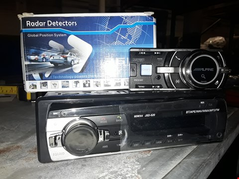 Lot 3051 THREE ITEMS ALPINE IDA-X305S HEAD UNIT, TADAR DETECTOR & JSD-520 CAR RADIO MP3 PLAYER