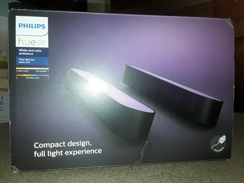 Lot 1655 PHILIPS HUE PLAY WHITE AND COLOUR AMBIANCE SMART LIGHT BAR DOUBLE PACK BASE UNIT