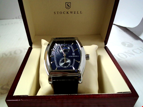 Lot 5638 DESIGNER STOCKWELL MOONPHASE DIAL LEATHER STRAP WRISTWATCH RRP £750.00