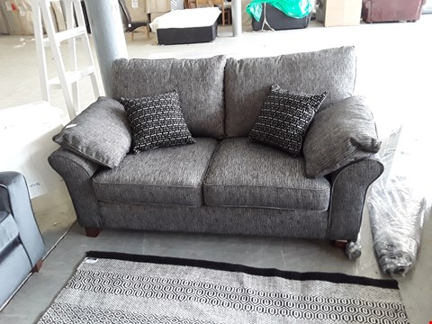 Lot 77 QUALITY BRITISH DESIGNER CHARCOAL WEAVE 2 SEATER SOFA