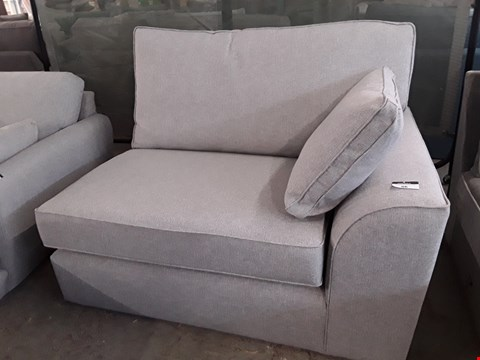 Lot 86 QUALITY DESIGNER BRITISH MADE STAMFORD LIGHT SILVER FABRIC TWO SEATER SECTION WITH BOLSTER CUSHION