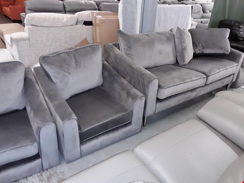 Lot 1 DESIGNER GREY VELVET LOUNGE SUITE, COMPRISING, THREE SEATER SOFA & TWO EASY CHAIRS
