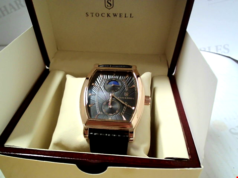Lot 5627 DESIGNER STOCKWELL  MOONPHASE DIAL LEATHER STRAP WATCH RRP £500.00