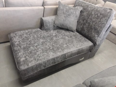 Lot 2 SILVER FABRIC CHAISE SECTION WITH SCATTER CUSHION