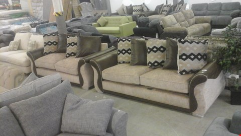 Lot 1238 DESIGNER BROWN SUEDE AND BEIGE FABRIC 3 SEATER SOFA AND 2 SEATER SOFA WITH SCATTER CUSHIONS