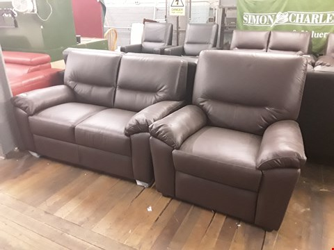 Lot 155 BRAND NEW QUALITY DESIGNER ITALIAN DARK BROWN LEATHER TWO-SEATER SOFA AND MANUAL RECLINING ARMCHAIR