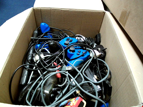 Lot 15652 BOX OF ASSORTED GAMES CONTROLLERS AND CABLES ETC