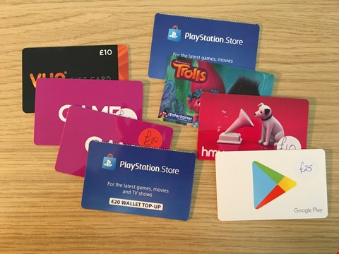 Lot 1 8 ASSORTED ENTERTAINMENT GIFT CARDS, INCLUDING GAME AND GOOGLE PLAY.  TOTAL VALUE £115