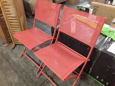 Lot 7 2 X BLOOMA SABA RED FOLDING GARDEN CHAIRS  RRP £30