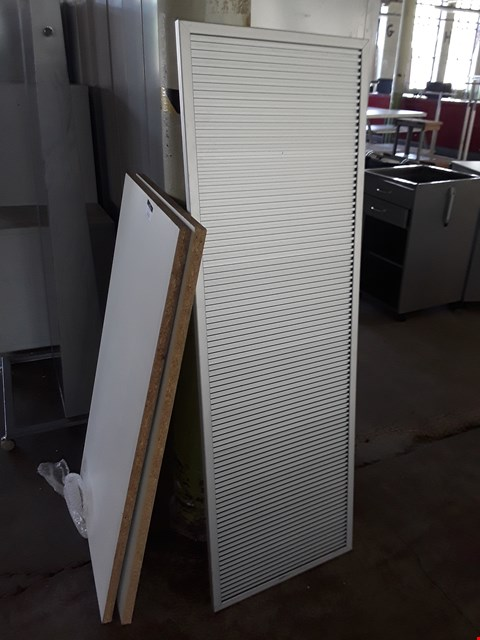 Lot 2113 TWO WHITE CHIPBOARD SHELVES & HANGING BOARD