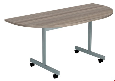 Lot 58 10 BRAND NEW ONE EIGHTY D-END 160 X 80 FLIP TOP MEETING TABLE TOPS ONLY - GREY OAK