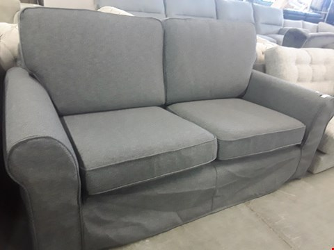 Lot 38 QUALITY BRITISH DESIGNER TWO SEATER SOFA WITH GREY FABRIC LOOSE COVERS