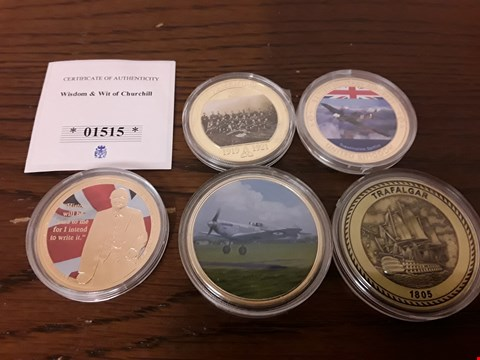 Lot 9154 LOT OF 5 GOLD EFFECT COMMEMORATIVE MILITARY COLLECTORS COINS YO INCLUDE WISDOM & WITH OF CHURCHILL