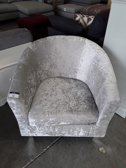Lot 88 DESIGNER SILVER CRUSHED VELVET TUB CHAIR