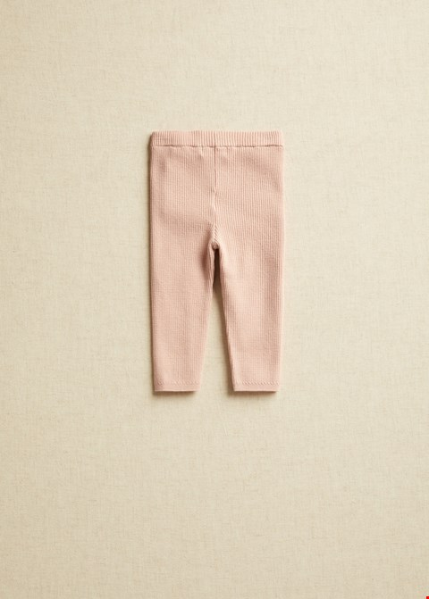 Lot 3517 BRAND NEW MANGO BABY PINK RIBBED LEGGINGS SIZE 6-9 YEARS