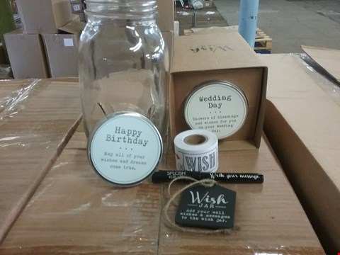 Lot 92 LOT OF 2 BOXES OF ASSORTED WISH JARS TO INCLUDE BLUE BIRTHDAY, WEDDING JARS APPROX 24