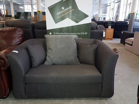 Lot 41 DESIGNER GREY FABRIC 2 SEATER SOFA