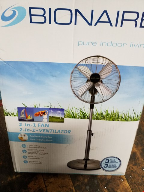 Lot 3157 BRAND NEW BOXED BIONAIRE BASF1516 DESK AND STAND FAN RRP £99.99