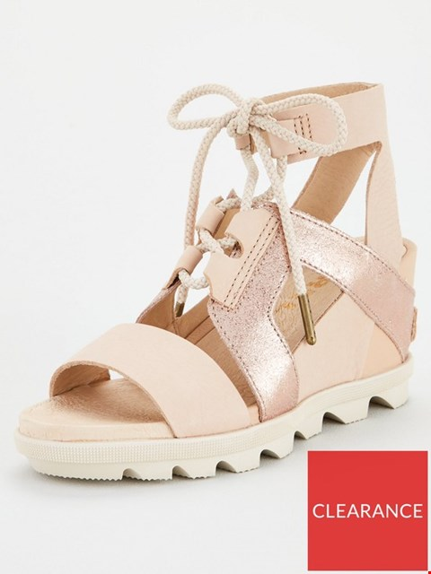 Lot 3624 BRAND NEW BOXED SOREL JOANIE II ANKLE LACE LEATHER WEDGE SANDAL - TAN SIZE 6
