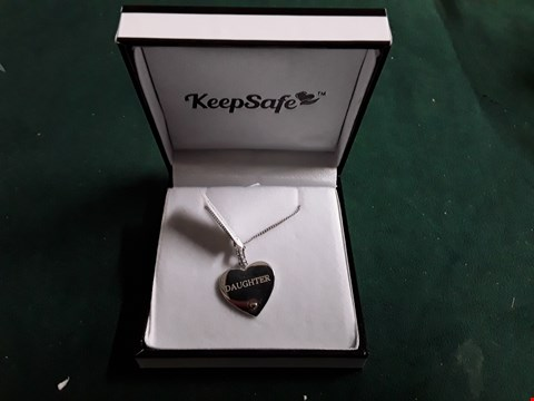 Lot 1502 KEEPSAFE PERSONALISED  STERLING SILVER DAUGHTER HEART NECKLACE RRP £75