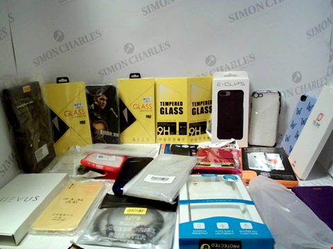 Lot 3073 BOX OF APPROXIMATELY 60 ASSORTED ITEMS TO INCLUDE PHONE CASES, SCREEN PROTECTORS, CABLES ETC