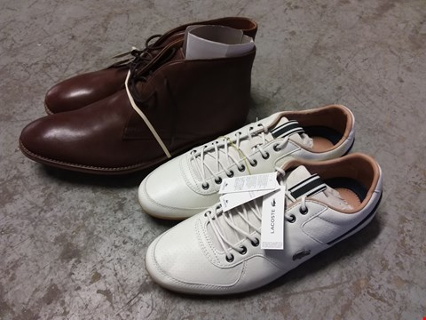 Lot 343 BOX OF APPROXIMATELY 10 ASSORTED PAIRS OF MEN'S SHOES TO INCLUDE LACOSTE TRAINERS AND CLASSICS BROWN BOOTS - VARIOUS SIZES