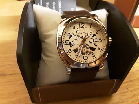 Lot 5 BOXED LA BANUS WRIST WATCH WITH BROWN STRAP AND ROSE GOLD FACING