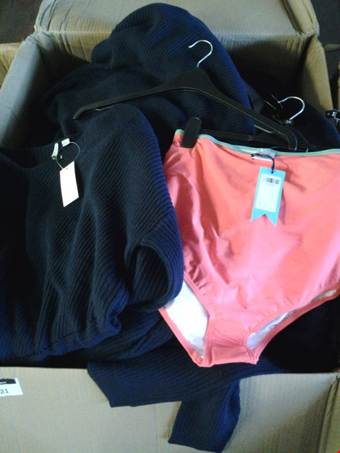 Lot 7078 1 BOX OF APPROXIMATELY 51 ASSORTED CLOTHING ITEMS INCLUDING PIONTELLE INDIGO JUMPER AND HIGH WAISTED CORAL BRIEFS