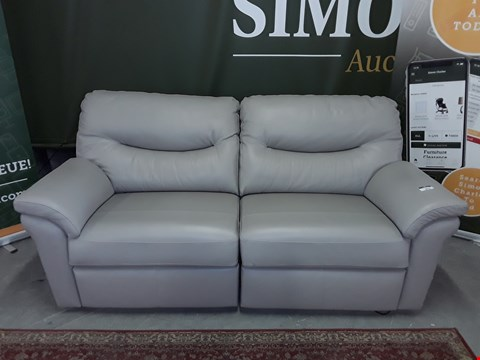 Lot 8016 QUALITY DESIGNER BRITISH MADE WOODEN FRAME GREY LEATHER ELECTRIC RECLINING 3 SEATER SOFA