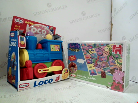 Lot 3033 4 ASSORTED PRODUCTS TO INCLUDE; FUN TIME LOCO, CAROUSEL, FOUR IN LINE GAME AND PEPPA PIG SNAKES AND LADDERS FLOOR GAME