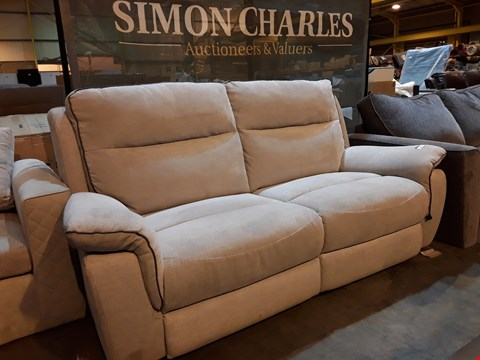 Lot 9048 DESIGNER NATURAL FABRIC MANUAL RECLINING THREE SEATER SOFA WITH CONTRAST TRIM